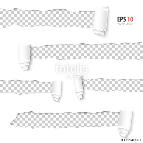 500x500 Torn Paper Vector. Collection Of Holes In White Paper With