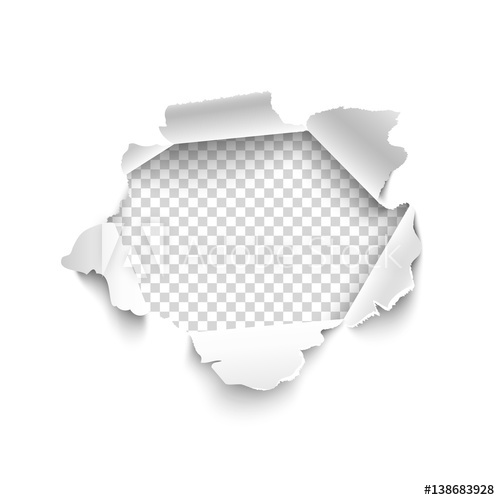 500x500 Hole In White Paper. Vector Illustration. Vector Torn Paper For