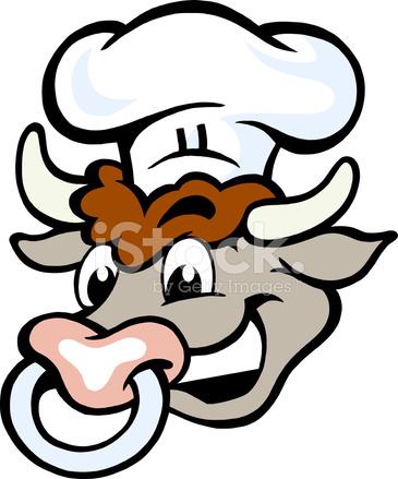 365x439 Vectorial De Una Cabeza De Toro Chef Feliz Stock