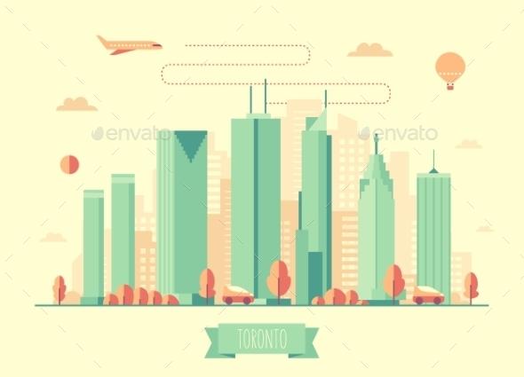 590x425 Toronto Skyline Architecture Vector Flat Design By Gropgrop