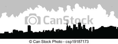450x169 Toronto Skyline Silhouette. Skyline Silhouette Of Downtown