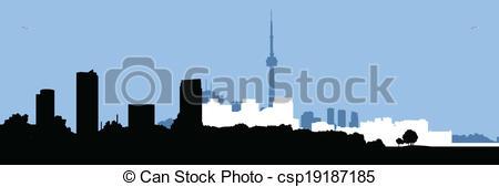 450x169 Toronto Skyline Silhouette. Skyline Silhouette Of Downtown Toronto
