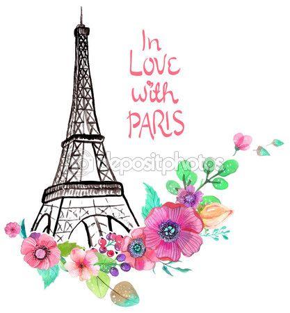 417x450 Torre Eiffel Con Acuarelas Flores De Stock