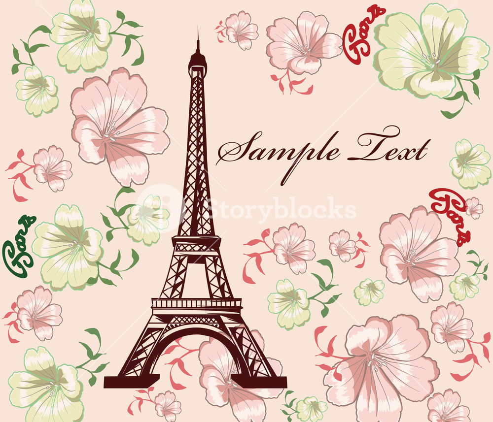 1000x857 Vector Eiffel Tower With Floral Royalty Free Stock Image