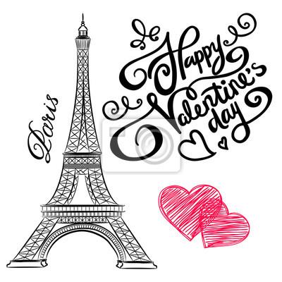 400x400 Boceto De Torre Eiffel Con Corazones. Del