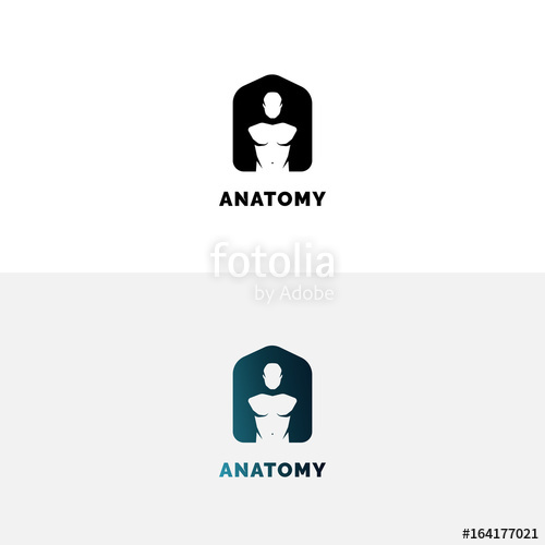 500x500 Anatomy Logo With Human Torso. Negative Space A Letter Logo