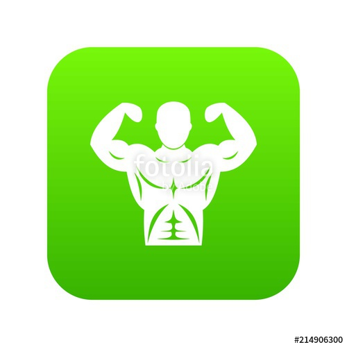 500x500 Athletic Man Torso Icon Digital Green For Any Design Isolated On