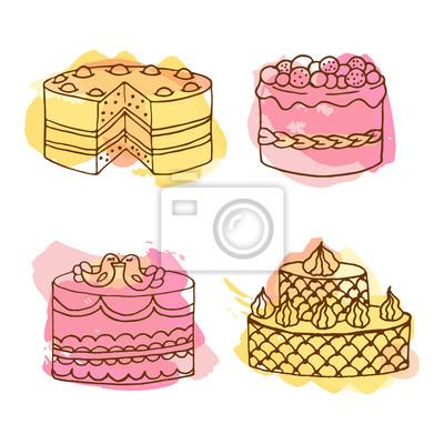 400x400 De La Torta Del Vector. Conjunto De 4 Tortas Dibujadas