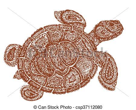 450x365 Sea Turtle Illustration In Paisley Mehndi Style. The Tortoise