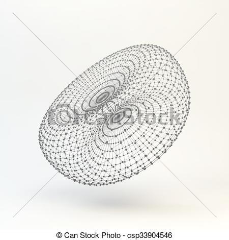 450x470 Torus. Molecular Lattice. Connection Structure. 3d Vector