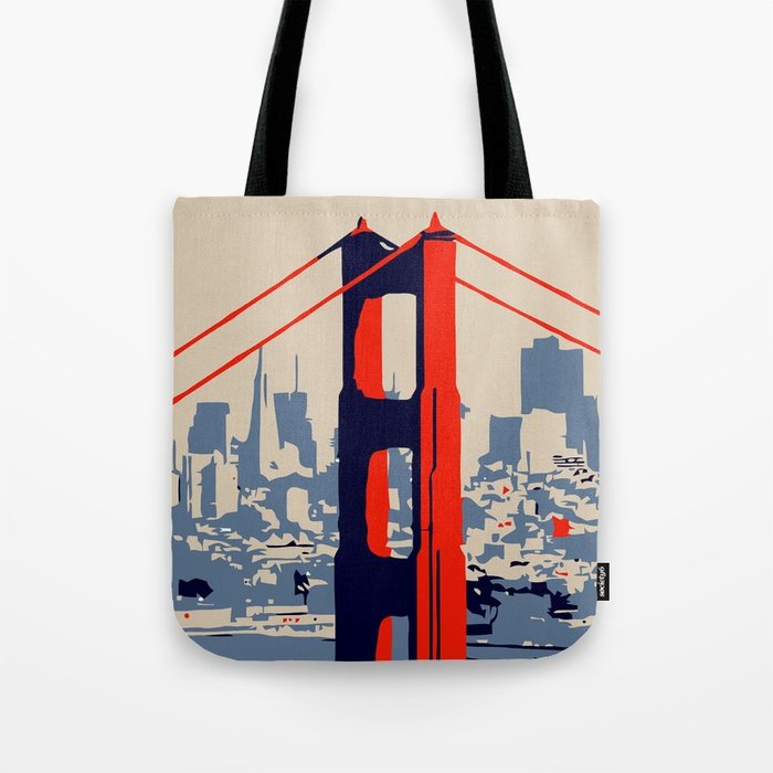 700x700 Golden Gate Bridge Vector Art Tote Bag By Aapshop Society6