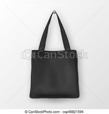 450x470 Realistic Vector Black Empty Textile Tote Bag. Closeup Isolated On