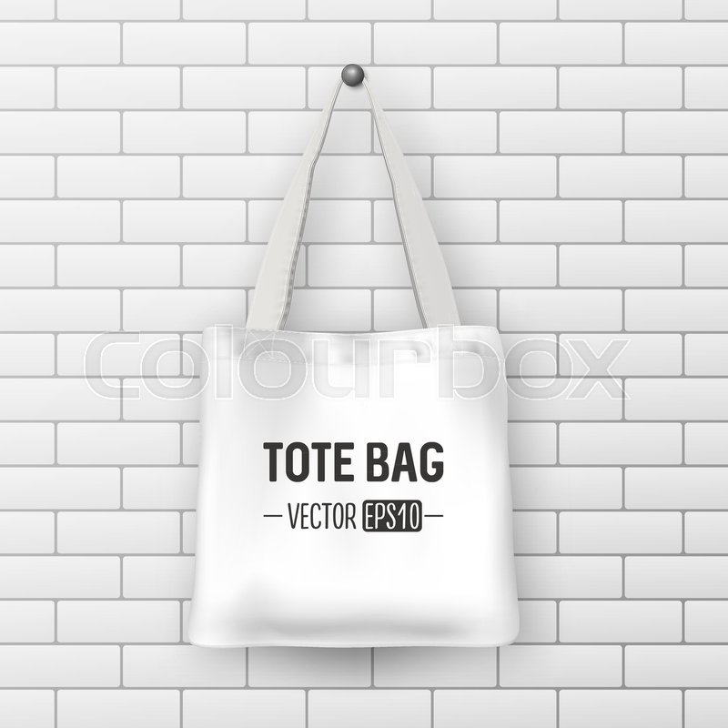 800x800 Realistic Vector White Textile Tote Bag. Closeup On Brick Wall