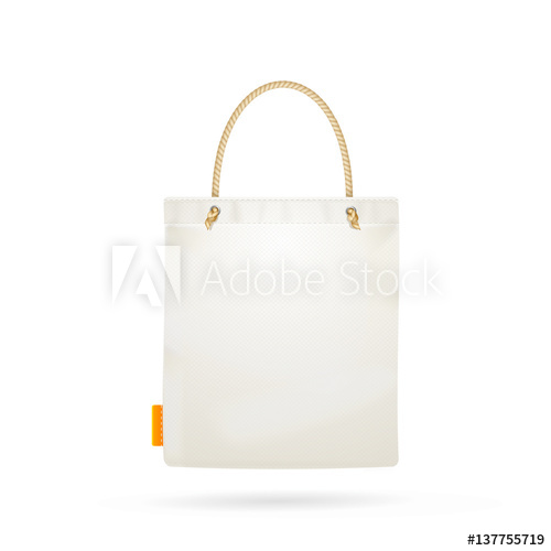 500x500 Template Blank White Fabric Cloth Tote Bag. Vector
