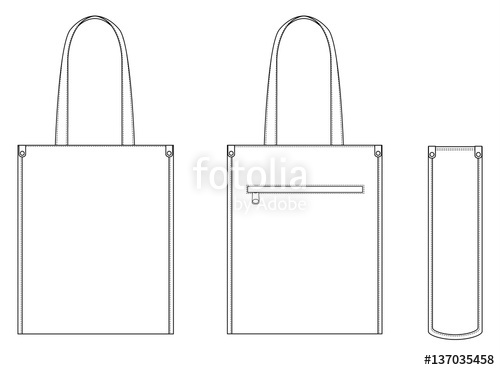500x370 Tote Bag Technical Drawing Flat Sketches Stock Image And Royalty