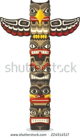 275x470 Totem Pole Symbols Totem Pole With Animals Vector Image Totem Pole
