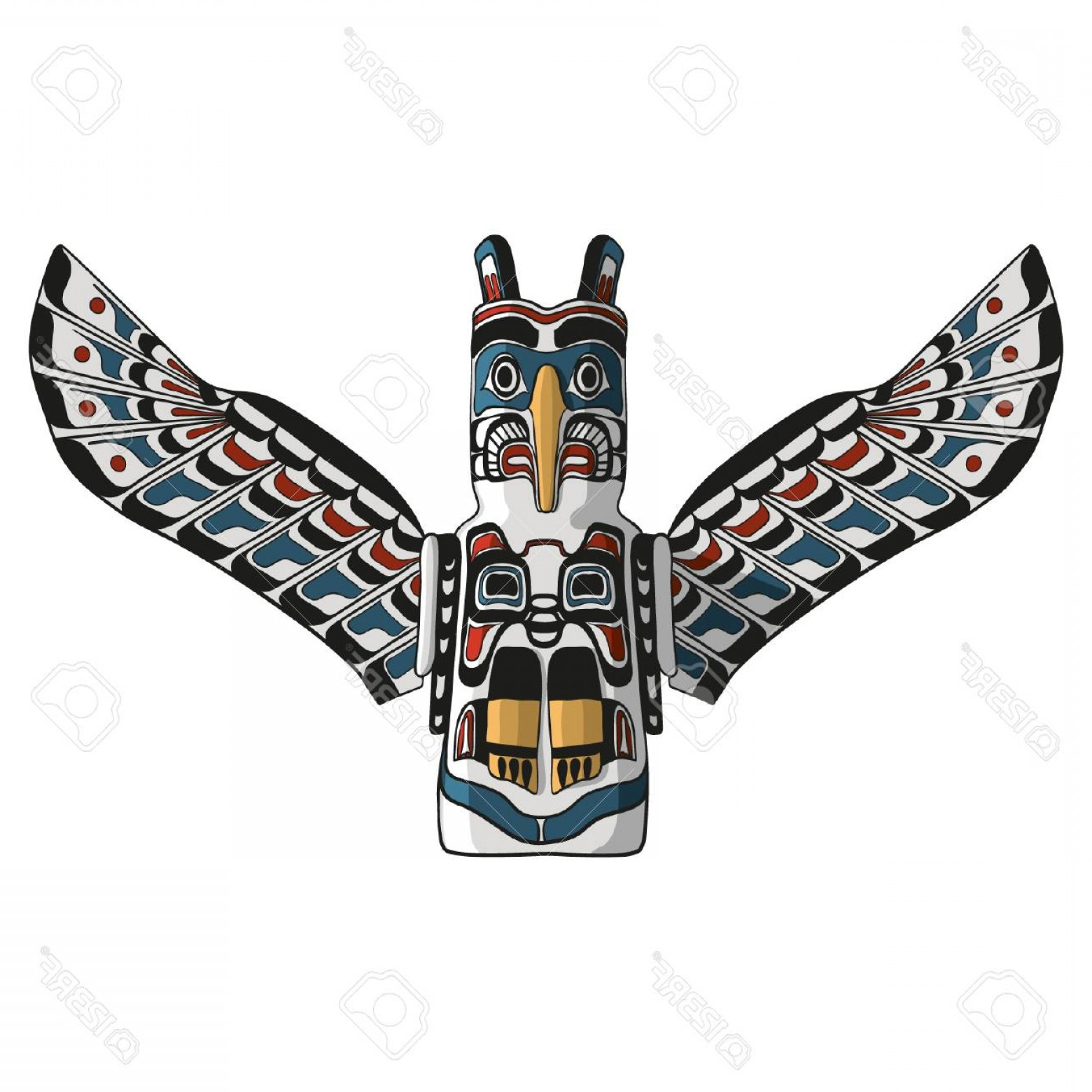 1560x1560 Photostock Vector Native American Eagle Totem Vector Traditional