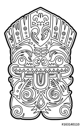 318x500 Polynesian Tiki Totem Vector Idol Mask. Coloring Page