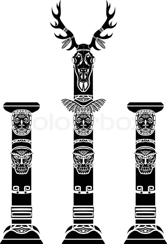 549x800 Totem Pole With A Deer Skull And Indian Masks Stock Vector