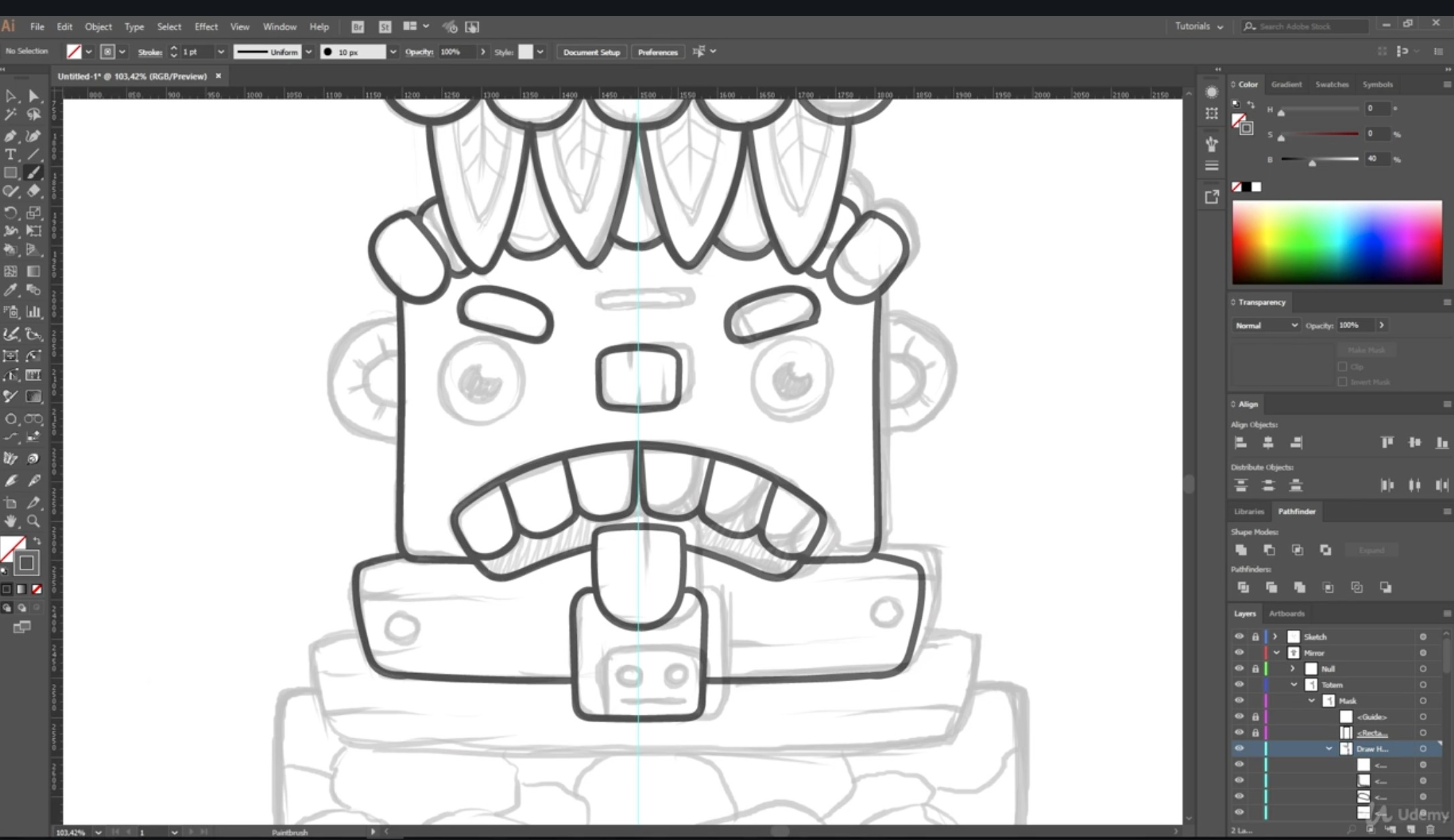 2170x1254 Useful Techniques For Vector Artists Drawing A Totem Udemy