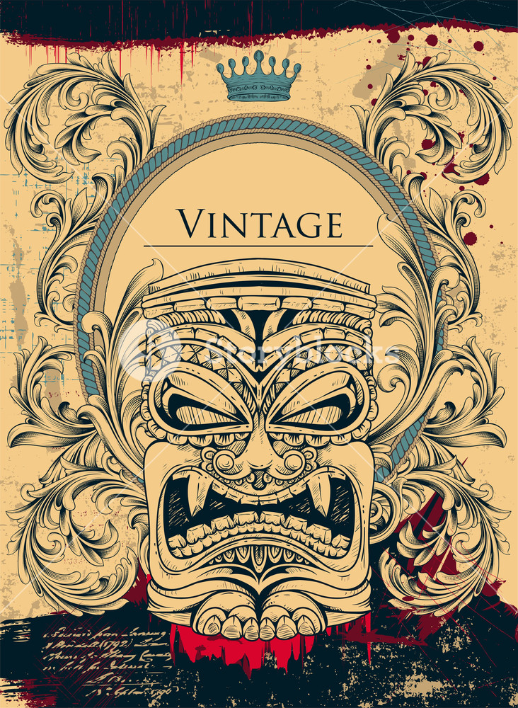 732x1000 Vintage Background With Totem Vector Ilustration Royalty Free