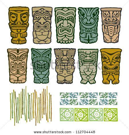 450x470 Vintage Carved Polynesian Tiki Totem Vector Idol Masks By Artbitz