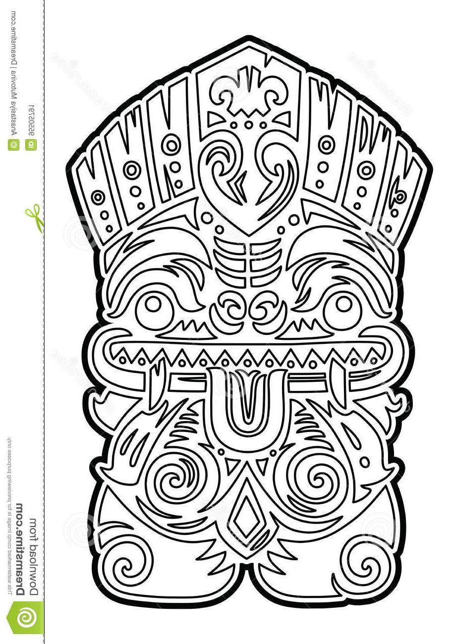 916x1300 Best Hd Polynesian Tiki Totem Vector Idol Mask Coloring