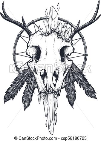 338x470 Crow Skull Totem. Strange Indian Totem With A Crow Skull Vector
