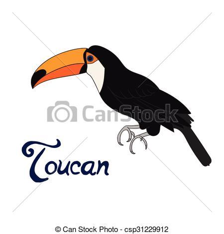 450x470 Bird Toucan Vector Illustration. Bird Toucan Cartoon Doodle Hand