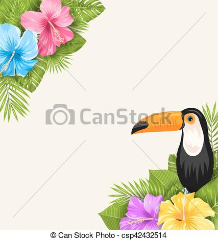 427x470 Illustration Nature Tropical Background With Toucan,... Vector