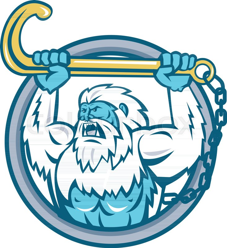733x800 Retro Style Illustration Of A Muscular Yeti Or Abominable Snowman