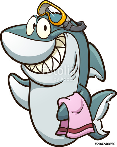 400x500 Happy Cartoon Shark Wearing Goggles And Holding A Towel. Vector