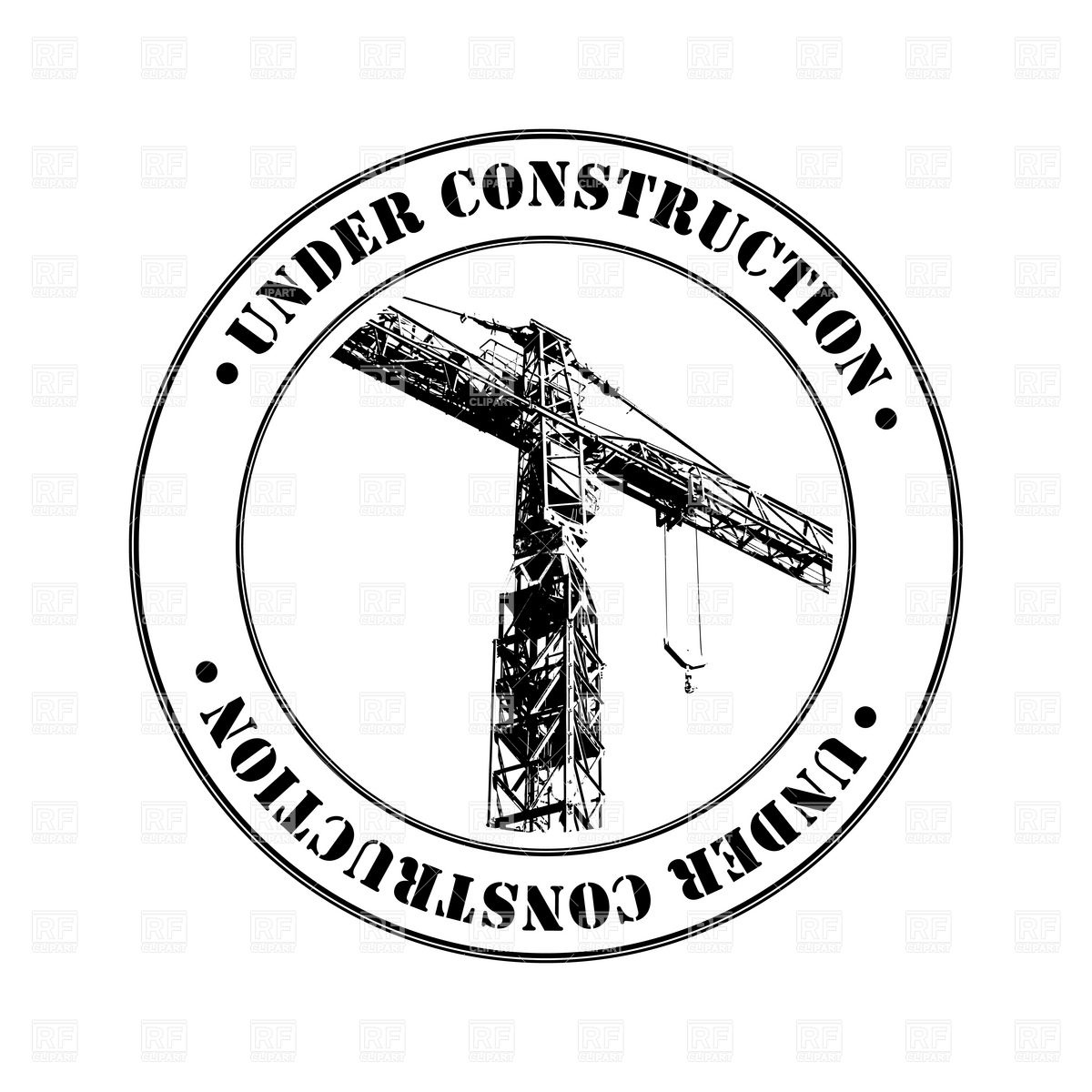 1200x1200 Under Construction Stamp With Tower Crane Vector Image Vector