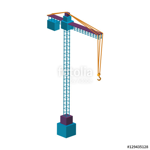500x500 Colorful Silhouette Construction Tower Crane Vector Illustration