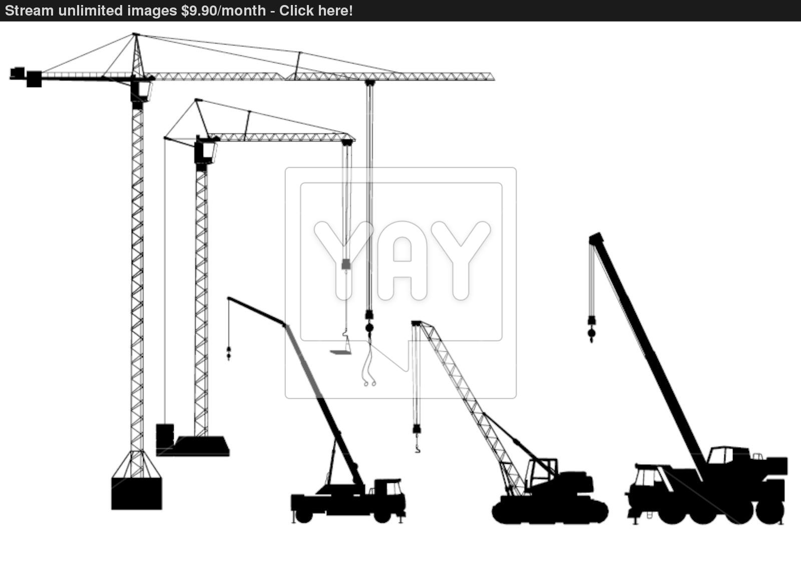 1600x1133 Truck Mounted Crane And Tower Crane Vector