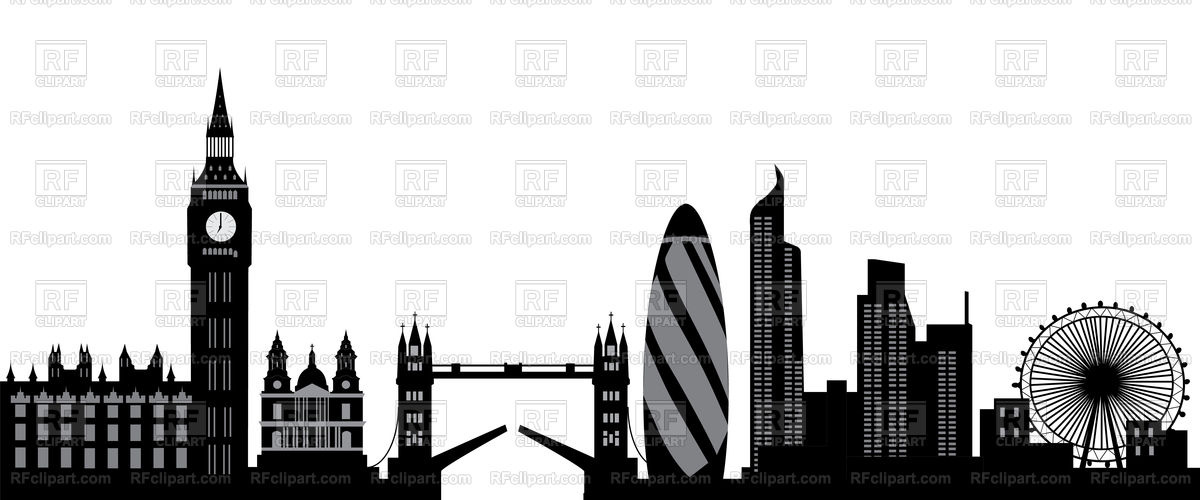 1200x500 London Skyline With Bridge And Tower Vector Image Vector Artwork