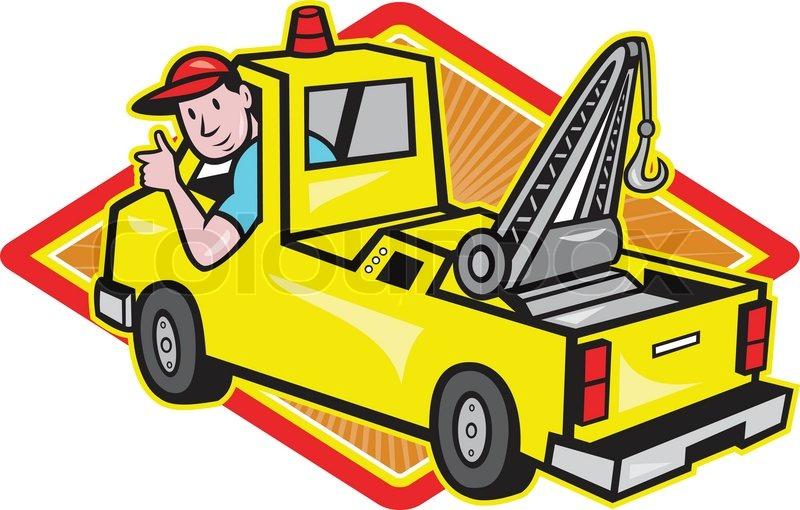 800x510 Tow Wrecker Truck Driver Thumbs Up Stock Vector Colourbox