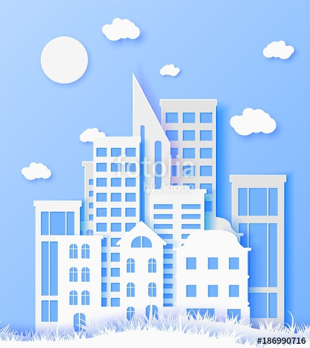 445x500 3d Abstract Paper Cut Illustration Of White Paper Town. Vector