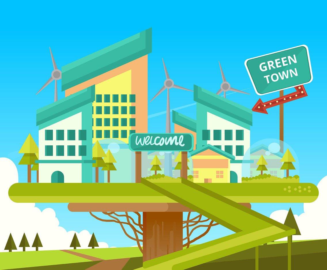1136x936 Green Energy Town Vector Vector Art Amp Graphics