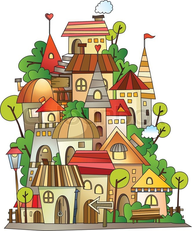 663x800 Illustration Of Fantasy Vector Fairy Tale Drawing Town Stock