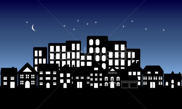 600x359 Night Fall On Town Vector Illustration Soleilc ( 920288
