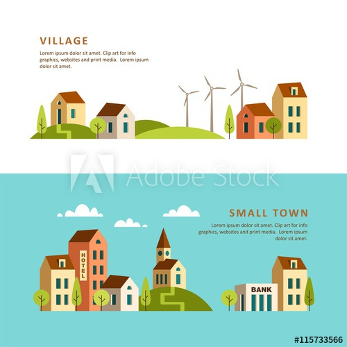 500x500 Rural And Urban Landscape. Village. Small Town. Vector