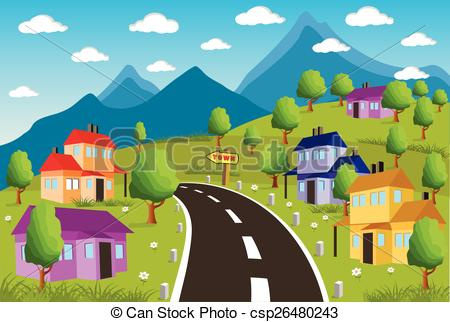450x322 Rural Landscape With Small Town. Ilustration Of A Little Town In A