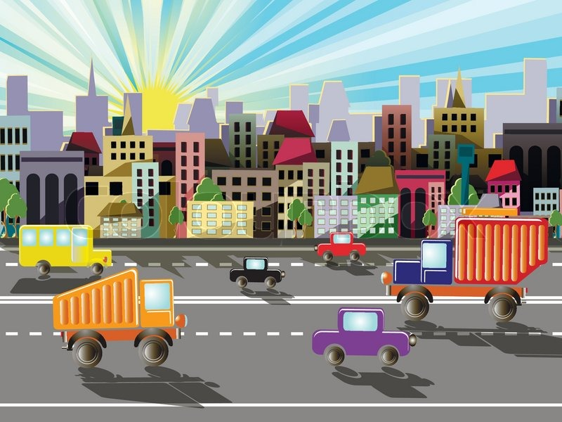 800x600 Abstract Illustration, The Highways In A Small Town Stock Vector
