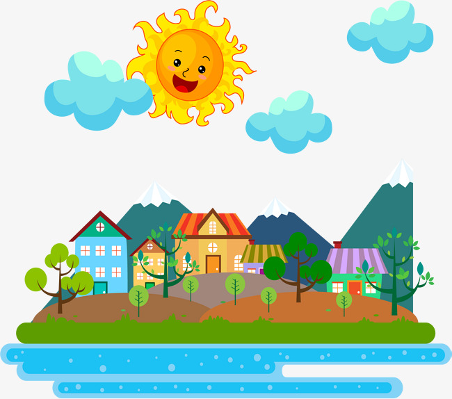 650x574 Sunny Town, Vector Material, Town, Sunny Day Png And Vector For