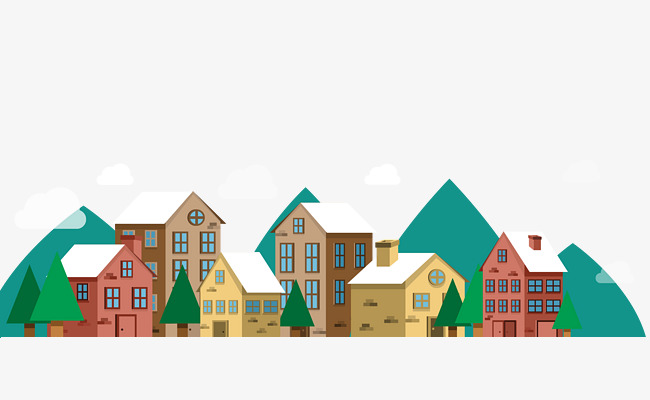 650x400 Vector Cartoon Hand Painted Colored Winter Town House, Vector