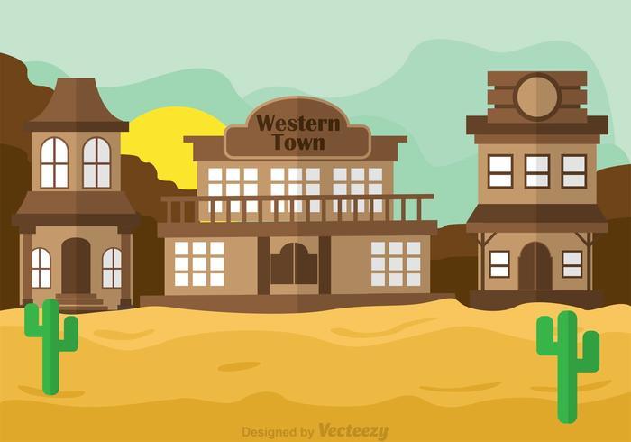 700x490 Western Town Vector Scene