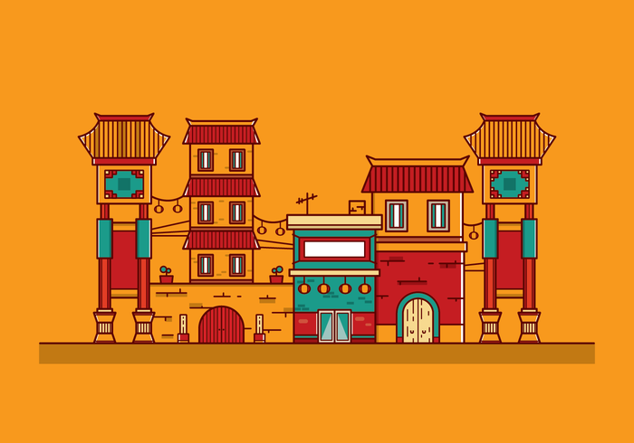 700x490 Free China Town Vector