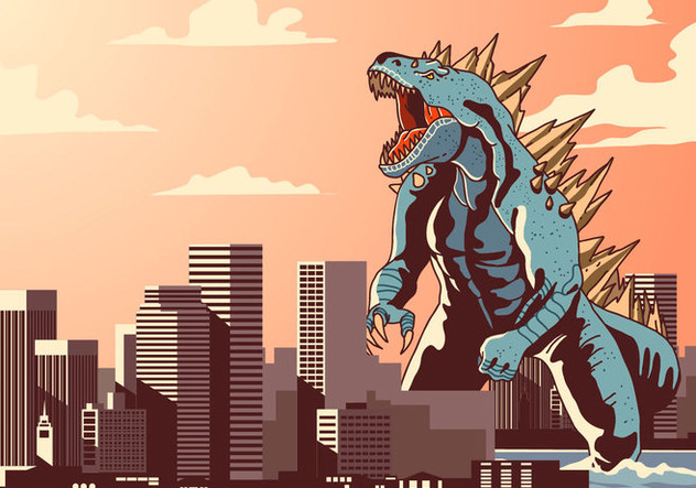 632x443 Godzilla In Town Vector Free Vector Download 399119 Cannypic