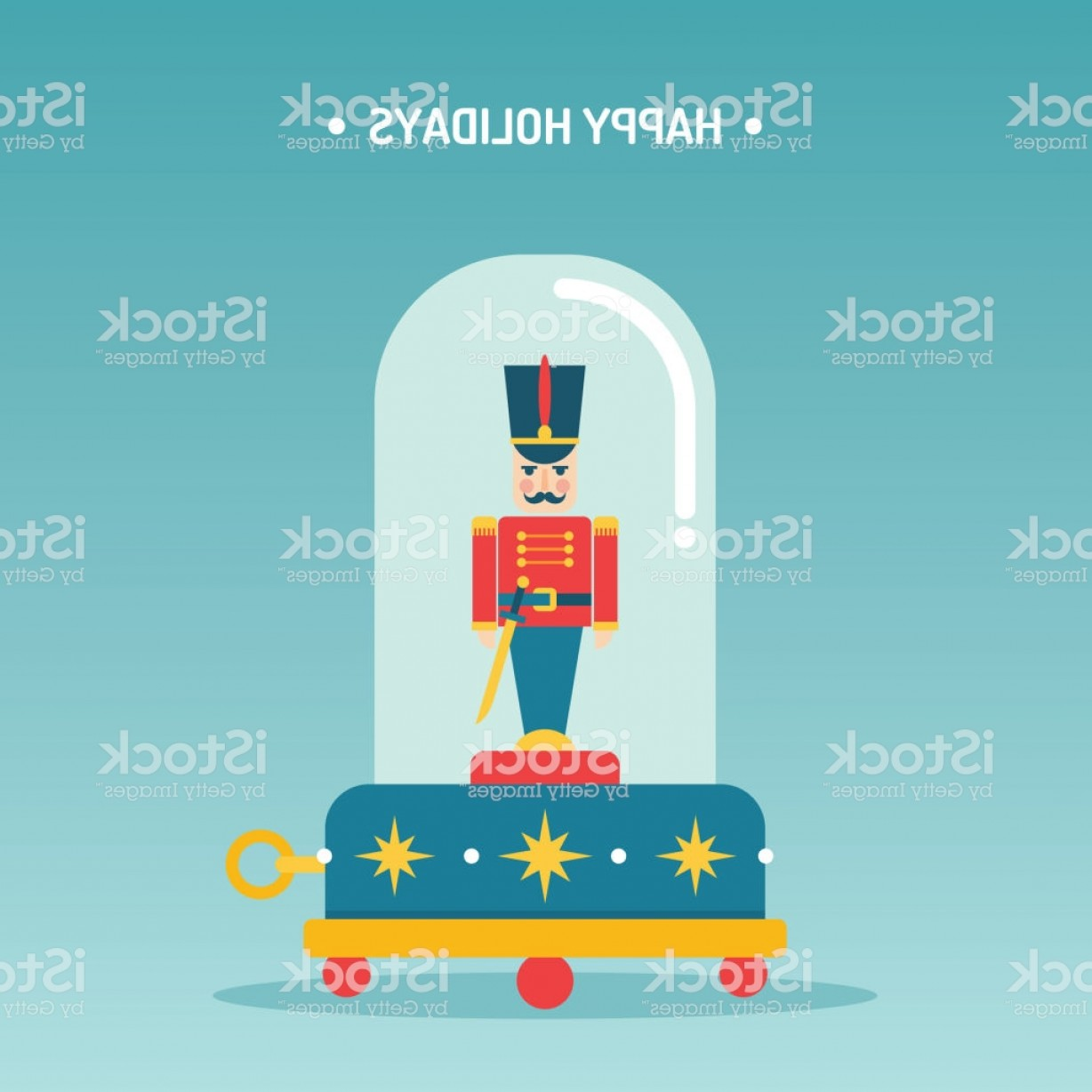 1228x1228 Nutcracker Toy Soldier Music Box Vector Illustration Greetings